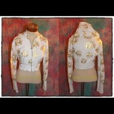 Dereon Tops - Beyonce Upgrade u white gold cropped hoodie jacket 3