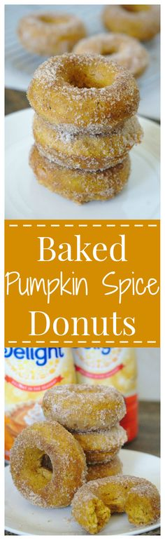 Baked Pumpkin Spice Donuts – A simple, yet flavorful fall breakfast! Pumpkin donuts baked to perfection and covered in cinnamon sugar! #delightfulmoments @walmart [ad] #donuts #pumpkin