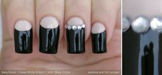 Acetone and Old Lacquer: Ruby Kisses Cream White & black and white half-moon manicure