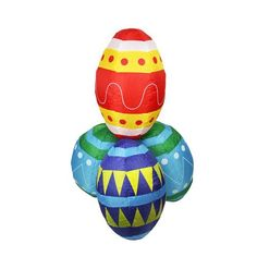 4' Inflatable Lighted Easter Eggs Stacks Yard Art Decoration