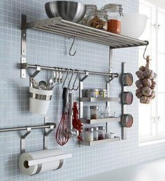 Ikea Stainless Steel Kitchen Organizer Set, Inch Rail, 5 Hooks, Silver: Saves space on the countertop Can also be used as a towel rail or a pot lid rack. Use the hooks to store your kitchenware on the wall and fit more into your cabinets and drawers. Cheap Kitchen, Diy Kitchen, Kitchen Decor, Kitchen Ideas, Decorating Kitchen, Awesome Kitchen, Kitchen Modern, Beautiful Kitchen, Kitchen Themes