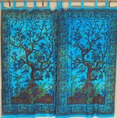 Exotic India Door Curtain Cotton Tree Of Life 2 Fabric Tab Top Window Treatments