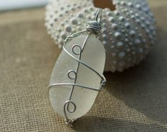Sea Glass pendant, Sterling silver Wire Wrapped. Beach glass jewelry, White beach glass, sea glass jewelry