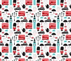 © Little Smilemakers Studio - Maaike Boot  London travel and icons print with that little guard, a royal black cab, the union jack, some tea, the big ben and that cute red bus! Fun print for your brand new baby boy romper or nursery.  Oh yes, you can also make something nice for yourself all grown up and stuff :)