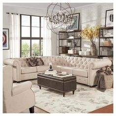 Beekman Place Two & Three Chesterfield Sectional Oatmeal - Inspire Q #livingroomideasdecor