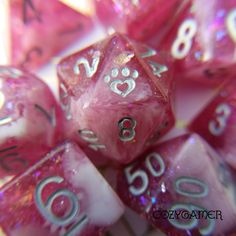 Berry Wine Dice Set, bright lush burgundy contrasted with milky white, sparkles, and foil. Delicious