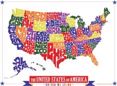 United States Hand Drawn Type Map