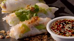 Cam's Kai Vietnamese Rice Paper Rolls with Asian Dipping Sauce Vietnamese Rice Paper Rolls, Spring Rolls, Fresh Rolls, Kai, Asian, Ethnic Recipes, Kitchen, Food, Cooking