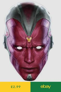 Vision Avengers Age of Ultron Marvel Official Single Card Party Face Mask Marvel Vision, Vision Avengers, Avengers Age, Ultron Marvel, Age Of Ultron, Party Face Masks, Die Rächer, Globe Art, Party Printables
