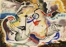 Painting by Jock Macdonald British/Canadian), Bird Romance. Stuart Davis, Famous Words, Art Database, Canadian Artists, Bird Art, Artist At Work, Surrealism, Modern Art, Sculptures