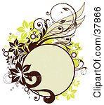 Clipart Illustration Of A Blank Beige Circle With Brown And Green Vines And Flowers by OnFocusMedia