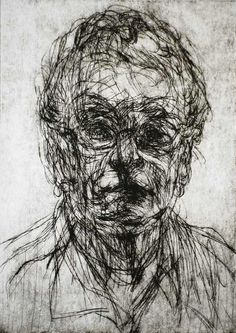 David Del Favero 'Portrait of Margaret' 2008 drypoint. The etched marks seem quick and expressive.