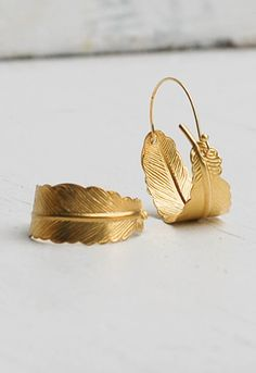 Gold FEATHER Hoop EARRINGS Woodland Nature Bird