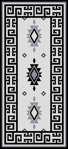 PATRON PUNTO CRUZ (Foto del Bordado Virtual) Alfombra Mapuche Para bordar en Lanas 158 Puntos de Ancho 344 Puntos de Alto Utiliza 4 Colores Boho Tapestry, Tapestry Crochet, Cross Stitch Designs, Cross Stitch Patterns, Cross Stitch Embroidery, Embroidery Patterns, Navajo Weaving, Latch Hook Rugs, Graph Design