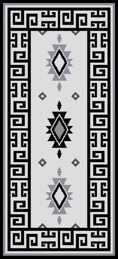 PATRON PUNTO CRUZ (Foto del Bordado Virtual) Alfombra Mapuche Para bordar en Lanas 158 Puntos de Ancho 344 Puntos de Alto Utiliza 4 Colores Más