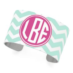"Monogrammed Cuff Bracelet Mint Chevron Pattern Lightweight Aluminum Width 1.5"" Multiple Options  Make sure you leave a note during check-out including the color you would like as the background for your monogram, the style of monogram you'd like, your initials, and the order of your initials.  We will monogram the ..."