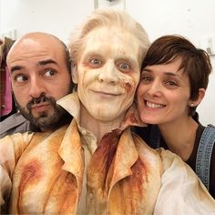 Tom Hiddleston as the ghost of Sir Thomas Sharpe with the make-up and special effects team during the filming of Crimson Peak in 2014 in Toronto, Canada From https://www.instagram.com/p/BMKjm6bAISF via http://tw.weibo.com/torilla/4036256306444071