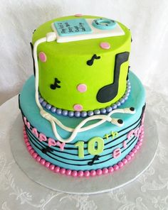ipod music themed birthday cake - buttercream iced cake with fondant accents