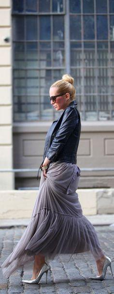 leather jacket & flanel skirt