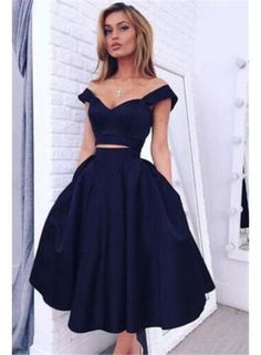 simple prom dress,two pieces prom dress,two pieces homecoming dress,simple prom dress,navy blue prom dress,party dress,cheap prom dress