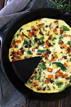 Sweet Potato, Kale, and Goat Cheese Frittata Recipe on twopeasandtheirpod.com This easy one skillet frittata is great for breakfast, lunch, or dinner.
