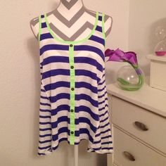 Striped Tank Top Very cute and very fun tank top! Has fake buttons on the front! Neon green lining and blue stripes! The smaller stripes on the sides are very flowy! (See pictures) never worn! Self Esteem Tops Tank Tops
