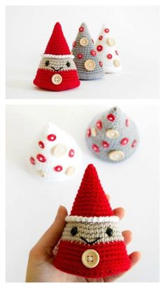 Crochet Amigurumi Tree and Christmas Elf Amigurumi Free Crochet Pattern - Scrambling for last-minute Christmas gifts? Here are 10 Fast and Easy Christmas Crochet Free Patterns to save money. Crochet Christmas Decorations, Christmas Crafts To Make, Crochet Decoration, Crochet Ornaments, Christmas Crochet Patterns, Holiday Crochet, Christmas Knitting, Simple Christmas, Christmas Elf