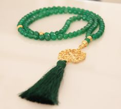 Green Jade 99 Tasbih,Turkish Islamic Prayer Beads,Gold Plated Round Filigree pendant,Green silk thread tassle,Rosary,Misbaha,Masbaha,Tesbih by Vanilleecom on Etsy