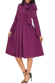 Leindr Women's Evening Party A Line Skater Dress Bowknot Embellished Long Sleeve Mock Neck Solid Midi Dress with Pocket Burgundy XL 16 18 Cheap Skater Dresses, Midi Skater Dress, Sexy Dresses, Vintage Dresses, Evening Dresses, African Traditional Dresses, Holiday Dresses, Women's Fashion Dresses, Fashion Pics