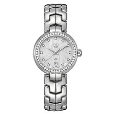 Tag Heuer Lady Link Diamond Dial Diamond Bezel watch. Features include: [Case] 29mm stainless steel, [Crystal] sapphire crystal, [Dial] s-shape GUILLOCH� dial with diamonds, [Movement] Quartz, [Strap / Bracelet] stainless steel bracelet, [Buckle] Stainless steel deployment buckle