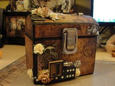 """Altered box   AND HANDMADE AND PAPER MACHE,SHADOWBOXES AND """"CORK BOARD GLASS/WOOD FRAMED THINGYS"""",AND TINS,ALL STUFF LIKE THAT"""