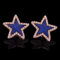 Star #Stud #Earring, with horse hair & Rhinestone, more colors.