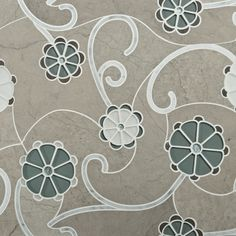 Fiori tile in water-cut glass, stone, and shell in smoke.  I love teh depth and texture of this mosaic.