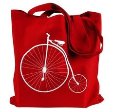 Bike Tote Bag Penny Farthing Bicycle on Red by theboldbanana - StyleSays