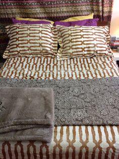 trellis comforter w purple and gray