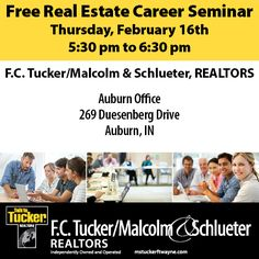 Come see us at our Auburn office for our Free Real Estate Career Seminar. Find out more about real estate and what it takes to be an agent. #fctuckermalcolmschlueter #auburnjobs #auburncareers mstuckerftwayne.com Real Estate Jobs, Real Estate School, Realtor License, School Info, We Are Hiring, Sell Your House Fast, Looking For A Job, What It Takes, Job S