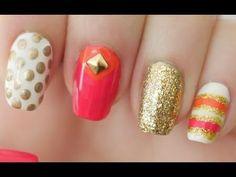 Pink & Orange Kate Spade Inspired Nails TUTORIAL! #tutorial #howto #nails #nailart #springnails #coral - bellashoot.com