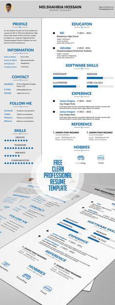 Free Curriculum Vitae / Resume Template #Resumetemplate
