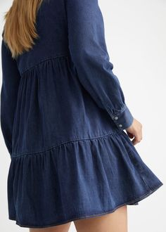 Tiered Denim Mini Dress - Blue - Mini dresses - & Other Stories GB