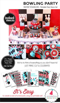 Bowling Party Decorations | Bowling Birthday | Bowling Printable | Bowling Party Banner | Instant Download | Amanda's Parties To Go