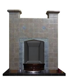 1930s tiled fireplace