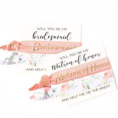 Party Proposal Unique Bridal Party Proposal  Hair Tie Favors  Peach  Gold Wedding .