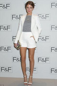 Millie Mackintosh.. Zara shorts, Sunspel Clothing top, New Look blazer, and River Island bag and heels..