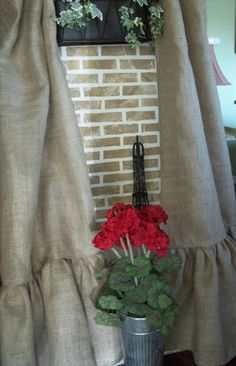 """Ruffled Burlap Curtain Panel - In Natural Tan - Simply French Market meets Ballard & Pottery Barn. Add some 'French' country to any decor. These Natural TAN burlap, gathered bottom, pole top panels, measure 40"""" x up to 96"""". Please specify what length you need.  $40.00 per panel #burlap #burlap curtains  http://www.etsy.com/shop/simplyfrenchmarket"""