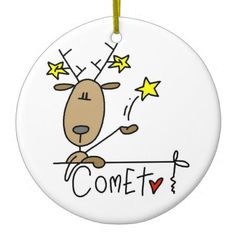Comets Comet the Reindeer Christmas Keepsake Ornament - You can personalize the back of this cute Comet the Reindeer keepsake Christmas ornament before ordering! We have a keepsake ornament for every reindeer in Santa's team! Christmas Rock, Reindeer Christmas, Santa And Reindeer, Christmas Scenes, Christmas Countdown, Christmas Crafts, Christmas Decorations, Christmas Ornaments, Reindeer Ornaments