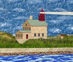 Block Island North, RI, Lighthouse via Craftsy House Quilt Patterns, House Quilt Block, Paper Pieced Quilt Patterns, Star Quilt Blocks, House Quilts, Barn Quilts, Quilt Block Patterns, Pattern Blocks, Fabric Patterns