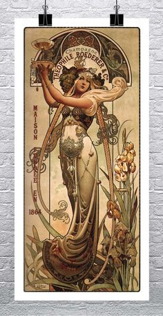 Champagne Theophile Roeder 1864 Vintage Art Nouveau Poster Rolled Canvas Giclee Print in. - Champagne Theophile Roeder 1864 Vintage Art Nouveau Poster Rolled Canvas Giclee Print in. Art Nouveau Prague, Mucha Art Nouveau, Motifs Art Nouveau, Design Art Nouveau, Alphonse Mucha Art, Art Nouveau Poster, Poster Art, Retro Poster, Kunst Poster