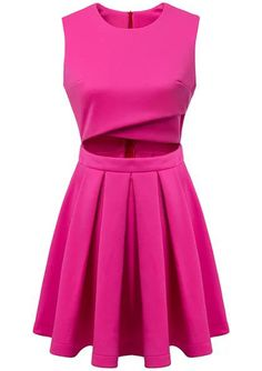 Red Round Neck Sleeveless Hollow Pleated Dress 19.33