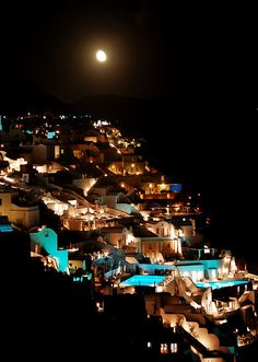 Oia at night, Santorini, Greece....We have a picture exactly like this...that I took from our convertible .....on our way honeymoon:))))))