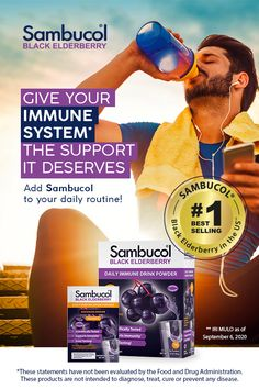 Easily get your black elderberry on the go with Sambucol Black Elderberry Daily Immune Drink Powder packets. Each packet of fast-dissolving powder delivers the equivalent of 5.4 grams of premium elderberry, plus 500 milligrams of vitamin C. It's a convenient and portable option for active lifestyles.* Simply add the contents to a bottle or glass of water and let dissolve for a great-tasting drink that is formulated to combine the natural power of black elderberry and vitamin C. Severe Cough Remedies, Best Cough Remedy, Toddler Cough Remedies, Home Remedies For Flu, Homemade Cough Remedies, Natural Remedies For Arthritis, Sambucol Black Elderberry, Elderberry Tea